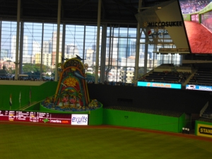 Marlins sculpture at the new park