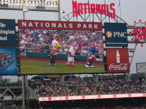 Dancing mascots on Jumbotron