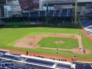 Sod on the field at Marlins Park