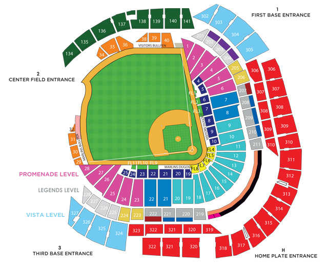 Marlins Park seating chart
