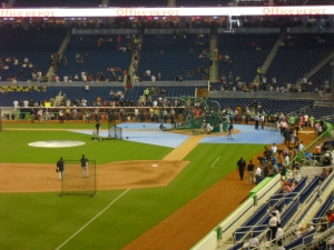 View of the home plate/dugout box area, notice the partitions above the first few rows