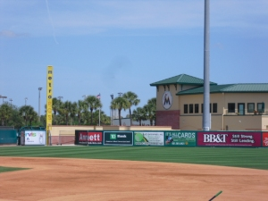 Marlins clubhouse behind left field fence