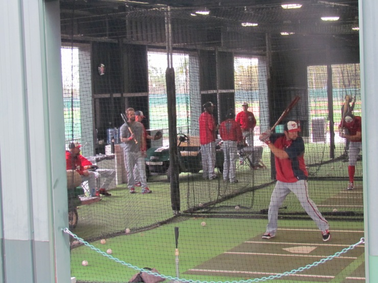 Nationals batting in the cages