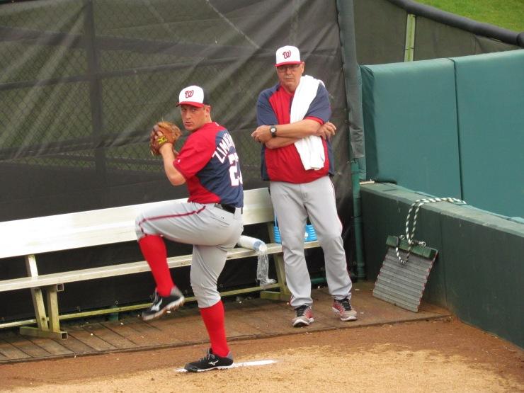 Jordan Zimmerman throwing with Steve McCatty looking on
