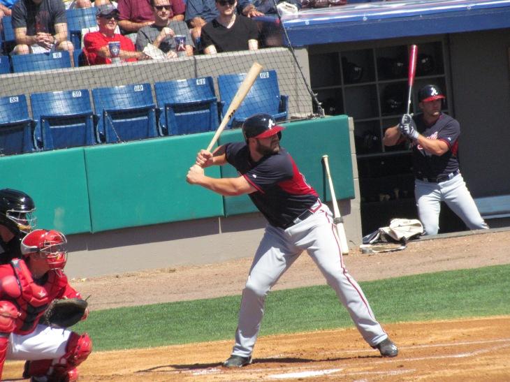 Evan Gattis batting in the first inning