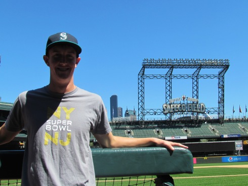 Me in the dugout at Safeco Field