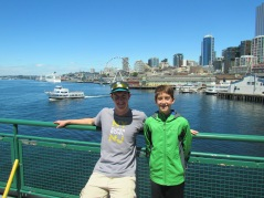 Me and Joe on the ferry with Seattle skyline