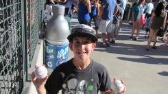 Joe snagged two baseballs