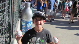 Joe snagged two baseballs