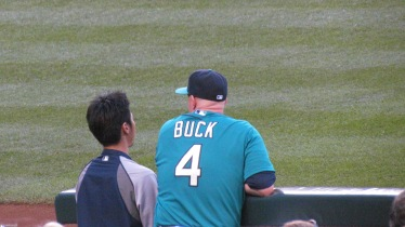 John Buck next to Iwakuma's translator