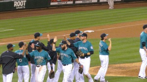 Mariners in the teal uniforms