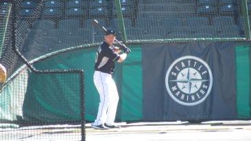 Logan Morrison hits during BP