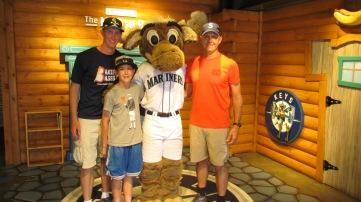 Me, my dad, and Joe with Mariner Moose