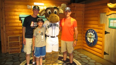 Me, my dad, and Joe with Mariner Moose