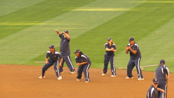 The groundskeepers did a dance number in the middle innings