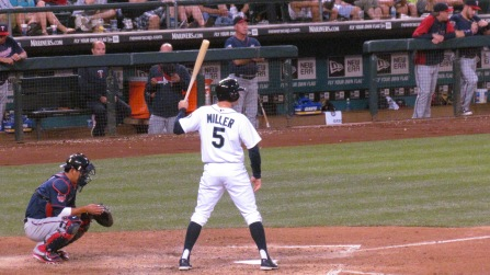 Brad Miller batting one hand on bat