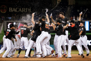 Marlins walk off on Baker's hit