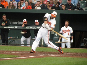 Chris Davis fouls a ball off