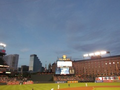 Camden Yards in twilight