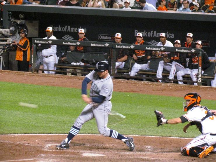 Brad Miller singles in the ninth inning