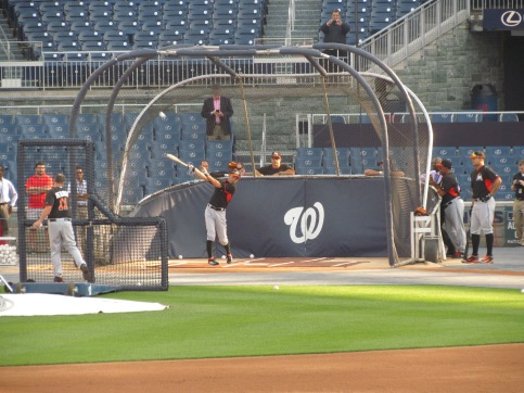 Ichiro bats during BP at Nationals Park