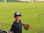 Joe during BP, flowery Marlins hat