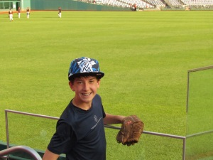 Joe during BP, flowery Marlins hat