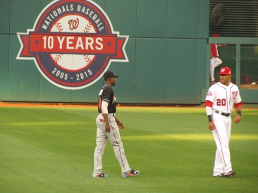 Dee Gordon and Ian Desmond warming up