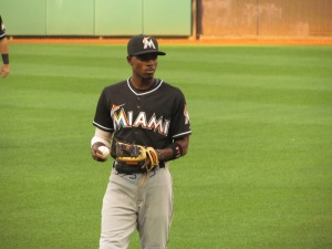 Dee Gordon warming up