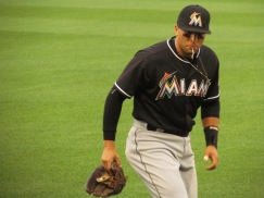 Martin Prado is, I think, spitting something in this picture