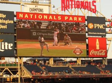 Livan Hernandez threw the first pitch in Washington Nationals history