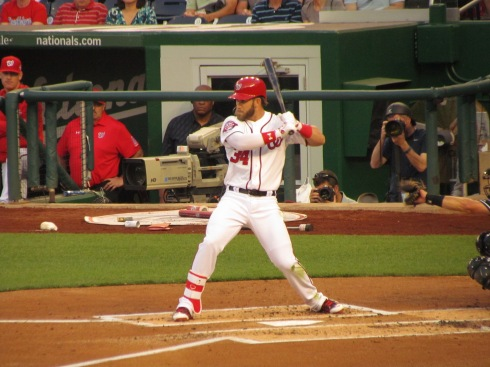 Bryce Harper dodges a pitch