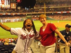 My mom with the greatest worker at Nationals Park, Terrance
