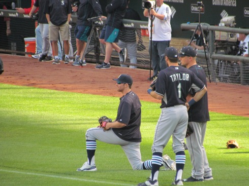 Brad Miller, Christ Taylor, Kyle Seager during BP