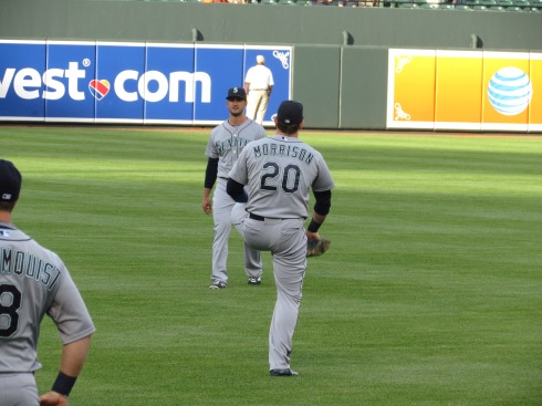 Logan Morrison stretching before the game