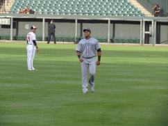 Nelson Cruz in the outfield before the game