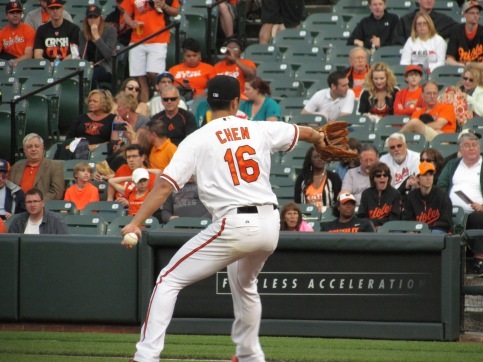 Wei-Yin Chen pitching for the Orioles