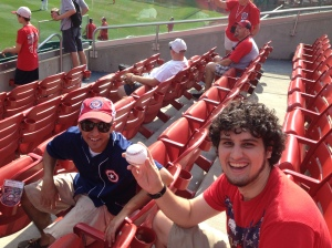 Ben holding the home run I caught