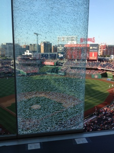 Shattered window in the Nats Park press box