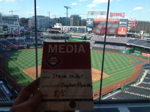 Press pass above Nats Park