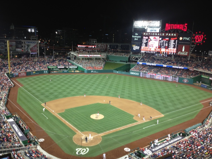 Nats Park from the press box at night