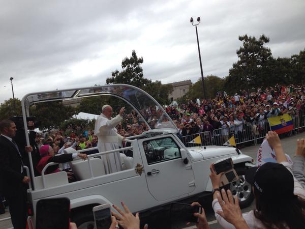 Pope in motorcade