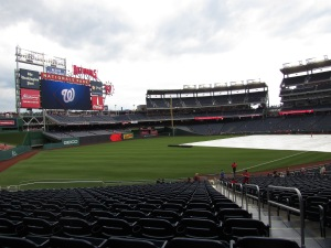 Tarp over the field at Nats Park