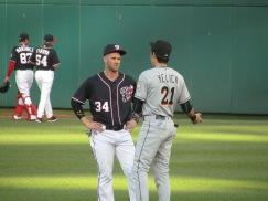 Yelich and Harper talking pregame