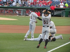 Ichiro and company stretching before the game